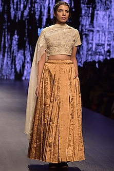 Gold & Silver Embroidered Lehenga Set by Prama by Pratima Pandey