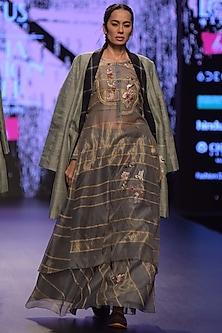 Grey Embroidered & Striped Kurta With Skirt by Prama by Pratima Pandey