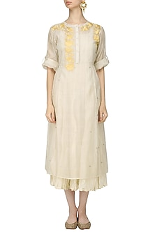 Ivory and Yellow Floral Embroidered Kurta with Crushed Anarkali by Prama by Pratima Pandey
