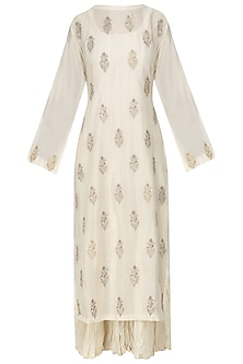 Ivory Thread Embroidered Kurta with Crushed Anarkali by Prama by Pratima Pandey