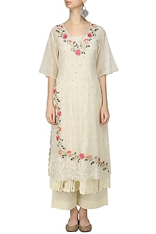 Ivory Scalp Embroidered Kurta, Crushed Inner and Palazzo Pants Set by Prama by Pratima Pandey