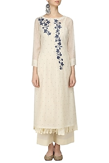 Ivory and Blue Embroidered Kurta, Crushed Anarkali and Palazzo Pants Set by Prama by Pratima Pandey