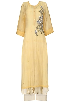 Yellow Embroidered Kurta, Beige Crushed Anarkali and Palazzo Pants Set by Prama by Pratima Pandey