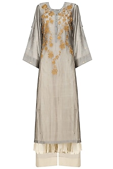 Grey Floral Embroidered Kurta, Beige Crushed Anarkali and Palazzo Pants Set by Prama by Pratima Pandey