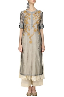 Grey Floral Embroidered Kurta, Beige Crushed Anarkali and Palazzo Pants Set by Prama by Pratima Pandey