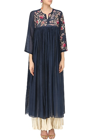 Navy Blue Dress and Crushed Anarkali Set by Prama by Pratima Pandey