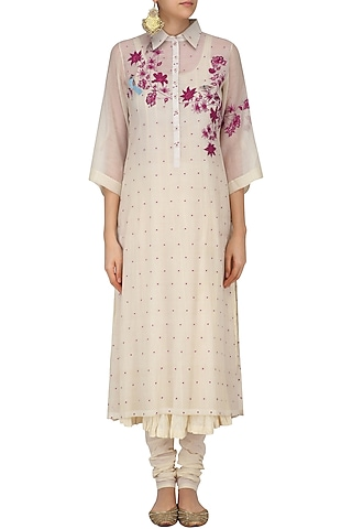 Ivory Embroidered Shirt Kurta with Crushed Anarkali and Churidaar by Prama by Pratima Pandey
