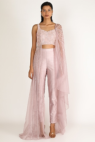 Mauve Draped Pant Set by Pink Peacock Couture