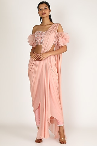 Blush Pink Ruffled Pant Set by Pink Peacock Couture