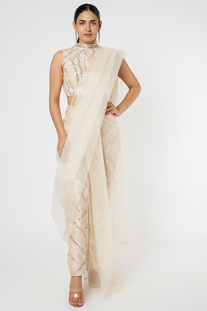 Golden Aari Embroidered Pant Saree Set by Pink Peacock Couture