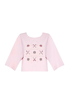 Pink Tic Tac Toe Embroidered Top by The Pot Plant