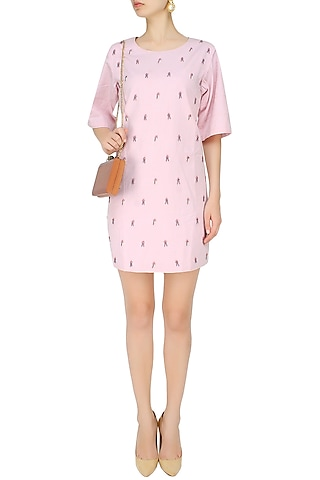 Pink Embroidered Anti-Fit Dress by The Pot Plant