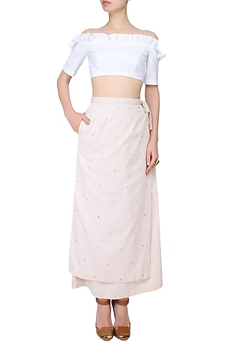 Beige embroidered wrap-around skirt by The Pot Plant