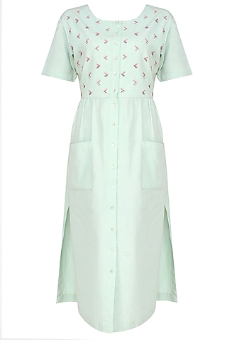 Sea Green Embroidered Gathered Dress by The Pot Plant
