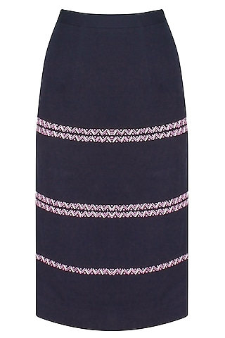 Ink Blue Chevron Pattern Embroidered Skirt by The Pot Plant