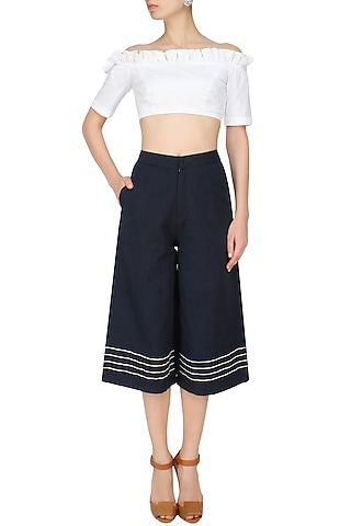 Blue Embroidered Stripes Flared Culotte Pants by The Pot Plant