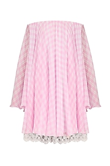 Pink Checkered Off Shoulder Dress by Pernia Qureshi