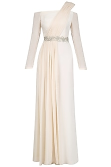 Ivory Off Shoulder Embroidered Jumpsuit by Pernia Qureshi