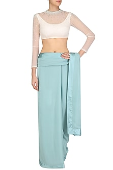 Teal Saree with High Neck Embroidered Blouse by Pernia Qureshi