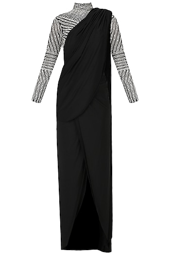 Black Embroidered Bodysuit and Pre-draped Saree by Pernia Qureshi