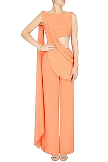 Orange Draped Jumpsuit by Pernia Qureshi