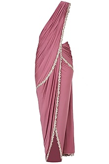 Purple Draped Saree and Ivory Blouse by Pernia Qureshi