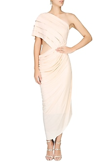 Ivory Draped One Shoulder Dress by Pernia Qureshi