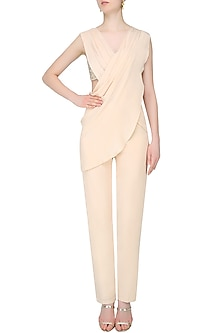 Ivory Draped Jumpsuit with Bustier by Pernia Qureshi