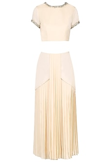 Ivory Top and Ivory Pleated Skirt by Pernia Qureshi