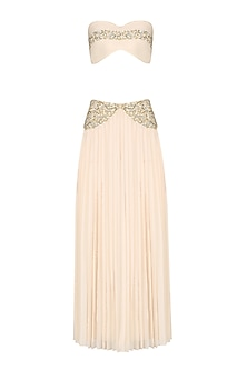 Ivory Embroidered Bustier and Pleated Skirt by Pernia Qureshi