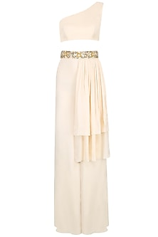 Ivory One Shoulder Crop Top and Ivory Palazzos by Pernia Qureshi