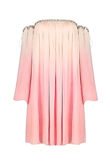 Ivory and Summer Pink Ombre Dress by Pernia Qureshi