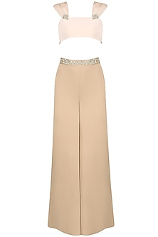 Ivory Crop Top with Sand Palazzos by Pernia Qureshi