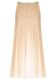 Ivory and Sand Ombre Flared Dress by Pernia Qureshi