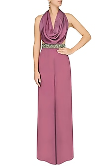 Purple Cowl Jumpsuit by Pernia Qureshi