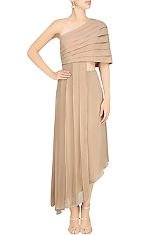 Sand One Shoulder Cape and Skirt by Pernia Qureshi