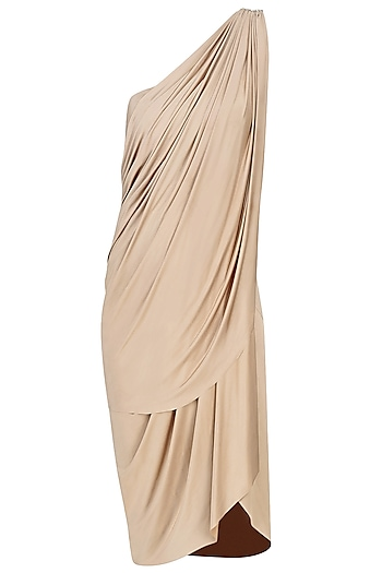 Sand Short Saree Dress by Pernia Qureshi