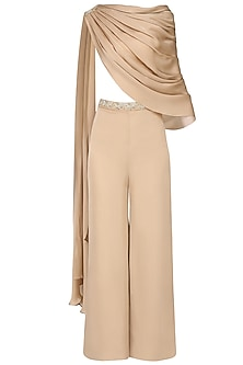 Sand Cape with Sand Culottes and Ivory Bustier by Pernia Qureshi