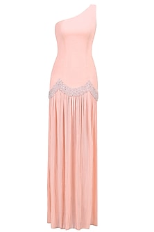 Blush One-Shoulder Embellished Gown by Pernia Qureshi