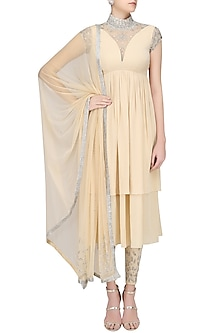 Nude Anarkali with Embellished Pants by Pernia Qureshi