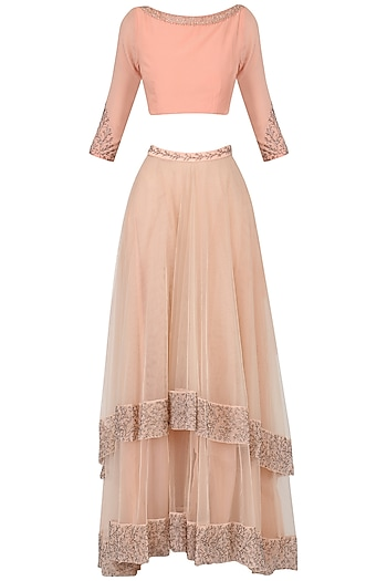 Blush Tiered Skirt with Crop Top by Pernia Qureshi