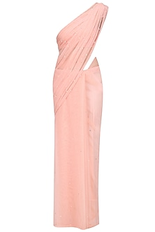 Blush Net Sari with Sprinkle Crystal Drop Embroidery by Pernia Qureshi