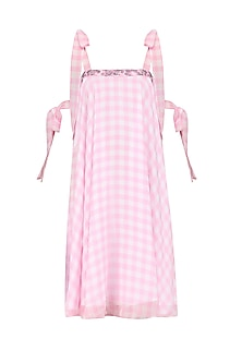 Pink Checkered Swing Dress by Pernia Qureshi