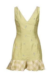 Pale Olive Ruffled Mini Dress by Pernia Qureshi