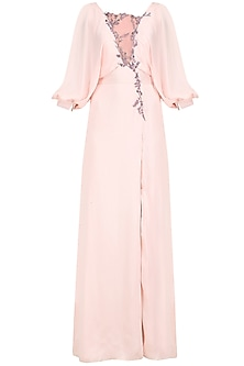 Pale Pink Embroidered Gown by Pernia Qureshi