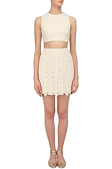 Ivory Lace Crop Top Set by Pernia Qureshi