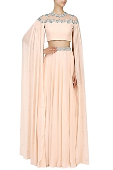 Nude Cape Sleeves Embroidered Crop Top and Lehenga by Pernia Qureshi