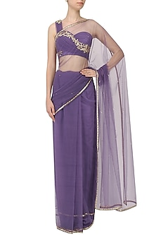 Lavender Embroidered Saree with One Shoulder Drape Blouse by Pernia Qureshi