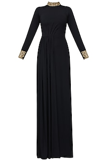 Black Golden Stone Embellished Draped Gown by Pernia Qureshi