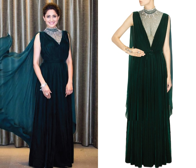 Forest Green Crystal Stone Embellished Sheer Drape Gown by Pernia Qureshi